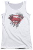 Juniors Tank Top: Man Of Steel - Face & Logo Tank Top