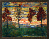 Four Trees, 1917 額入りジクレープリント : エゴン・シーレ