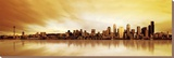 Golden Skyline Stretched Canvas Print by  Fline