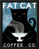 Cat Coffee Framed Giclee Print by Ryan Fowler