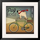 Pug on a Bike Prints by Ryan Fowler