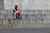 A Couple Share a Kiss in Independence Square in Central Kiev Photographic Print by Anatolii Stepanov