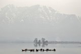 Kashmiri Fishermen Catch Fish from the Waters of Dal Lake on a Cold Day in Srinagar Photographic Print by Fayaz Kabli