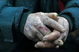 The Hands of a Homeless Man are Seen Photographic Print by Radu Sigheti