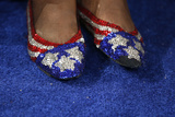A Delegate Sports Sequin Shoes While Attending the Second Session of Democratic National Convention Photographic Print by Jim Young
