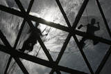 Workers Clean the Glass Roof at Shopping Mall in Centre of Warsaw Photographic Print by Kacper Pempel