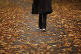A Man Walks Through Fallen Autumn Leaves in Loughborough Photographic Print by Darren Staples
