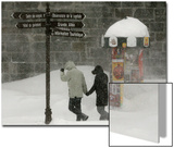 People Walk in the Street During a Snow Storm in Quebec City Prints by Mathieu Belanger