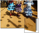 Women Wearing Typical Sevillana Outfits Walk During the Traditional Feria De Abril in Seville Art by Marcelo Del Pozo