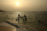 Rebel Fighters Enjoy a Sunset at the Beach in the West Libyan City of Misrata Photographic Print by Zohra Bensemra