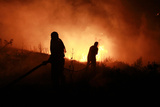 Residents and Civil Defence Crew Try to Put Out Flames During Forest Fire in Akkar Photographic Print by  Stringer