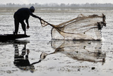 A Kashmiri Fisherman Throws a Net into the Waters of Dal Lake During a Relaxation Photographic Print by Fayaz Kabli