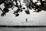 A Boy Jumps from a Tree into Caura River in Maripa in the Southern State of Bolivar Photographic Print by Jorge Silva