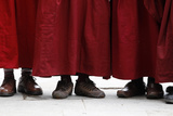 Tibetan Monks Stand Outside St Paul's Cathedral During a Visit by the Dalai Lama Photographic Print by Stefan Wermuth