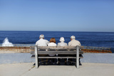Elderly Couples View the Ocean and Waves Along the Beach in La Jolla Photographic Print by Mike Blake