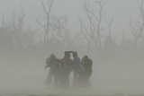 Villagers Cover Themselves from Sandstorm Near India-Nepal Border in Pilibhit Photographic Print by Pawan Kumar