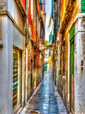 Narrow Stone Made Street at Venice Italy. HDR Processed Photographic Print by imagIN photography
