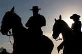 Pilgrims on Horse Ride at Dusk Otuside El Rocio Shrine in Spain Photographic Print by Anton Meres