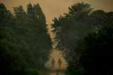 Two Firefighters Walk Away from Forest Fire in Freixeiro Photographic Print by Miguel Vidal