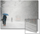 A Woman Shields Herself under an Umbrella as She Walks During a Heavy Snowfall Prints by Stoyan Nenov
