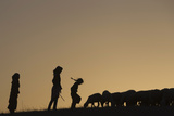 Girls from the Jahalin Bedouin Tribe Watch over Sheep Photographic Print by Darren Whiteside