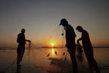 Fishermen are Silhouetted Against the Setting Sun While They Clear their Net after Fishing Photographic Print by Athar Hussain