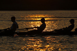 Rowers are Silhouetted During Sunset on the Potomac River in Washington Fotografisk trykk av Molly Riley