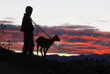 A Boy Takes Walks with His Goat on the Outskirts of Oaxaca Photographic Print by STRINGER Mexico