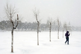 A Girl Walks Through Heavy Snow in Ciudad Juarez in Northern Mexico Photographic Print by STRINGER Mexico