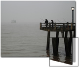 Men Fish in the Fog-Covered Rio De La Plata River in Buenos Aires Posters by Enrique Marcarian
