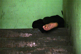 An Unemployed Man Sleeps at a Hallway in Panama City Photographic Print by Alberto Lowe