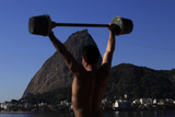 Men Work Out Using Improvised Weights with Sugar Loaf Mountain in the Background in Rio De Janeiro Photographic Print by Ricardo Moraes