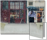 A Man Runs Through a Heavy Downpour in Central London Posters by Luke MacGregor