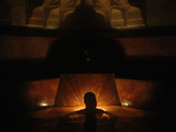 A Man Relaxes at the Rudas Bath During -Night of Baths- in Budapest Photographic Print by Bernadett Szabo