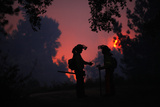 Firefighters Talk During a Wildfire in Jubrique Photographic Print by Jon Nazca