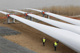 Technicians Inspect Wind Turbine Blades Photographic Print by Stephane Mahe