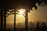 Cyclists Take a Break at the Vista Chinesa (Chinese View) as the Sun Rises in Rio De Janeiro Photographic Print by Ricardo Moraes