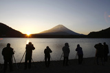 People Take Pictures of the Sunrise Appearing from the Foot of Japan's Highest Mountain Photographic Print by Yuriko Nakao