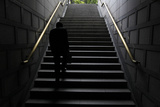 Office Worker Walks Up the Steps of an Underground Passage in Central Seoul Photographic Print by Jo Yong hak