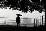 A Man Holds an Umbrella as He Looks Out Photographic Print by Andrew Winning