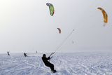 Kite Surfers Take Advantage of the Frozen Puck Bay in Chalupy Photographic Print by Peter Andrews