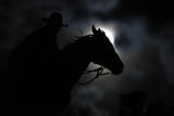 Wrangler Nate Cummins Rides by Moonlight Photographic Print by Jim Urquhart