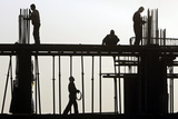 Afghan Men Work at a Construction Site in Kabul Photographic Print by Omar Sobhani