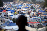 A Boy Stands at a Makeshift Camp at a Golf Course in Port-Au-Prince, Haiti Photographic Print by Carlos Barria