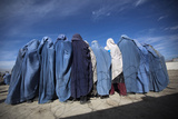 Afghan Widows Clad in Burqas During a Cash for Work Project by Humanitarian Organisation, Kabul Photographic Print by Ahmad Masood