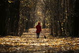 Woman Walks Her Dog in Park on Warm Autumn Day in Central Sofia Photographic Print by Stoyan Nenov