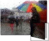 A Man Carrying an Umbrella Walks Through the Rain, as Seen Through a Window, in Kathmandu Posters by Navesh Chitrakar