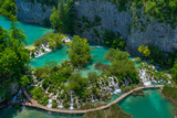 Cascade at Plitvice Lakes National Park in Spring Photographic Print by  zkbld