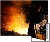 A Labourer Works at a Ferronickel Smelting Furnace in a Fenimak Factory Near Kavadarci Prints by Ognen Teofilovski