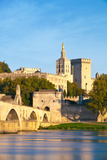Avignon Bridge with Popes Palace and Rhone River, Provence Photographic Print by  honzahruby